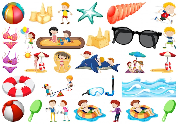 Set von strandobjekten Premium Vektoren