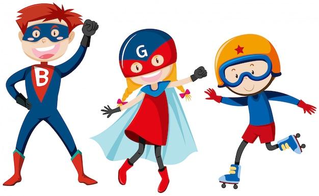 Set von superhelden Kostenlosen Vektoren