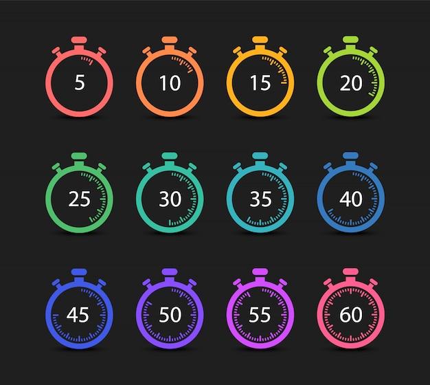 Set von timern und stoppuhren. 5,10,15,20,25,30,35,40,45,50,55,60 minuten. Premium Vektoren