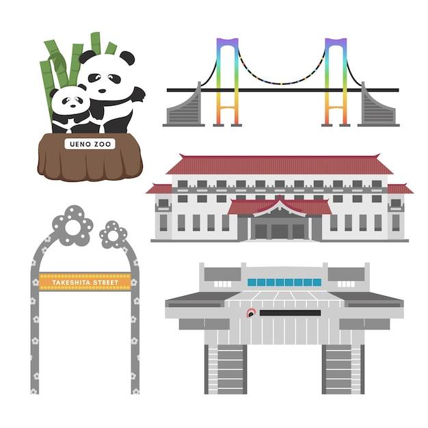 Set von tokio sehenswürdigkeiten Kostenlosen Vektoren