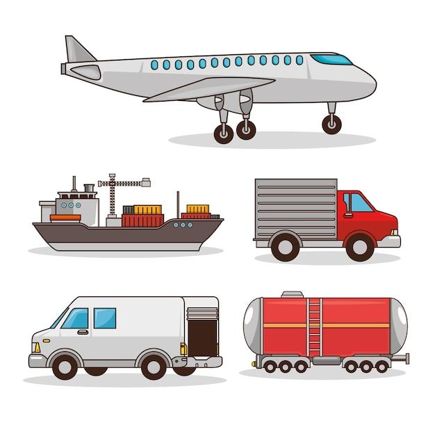 Set von transportmitteln Premium Vektoren