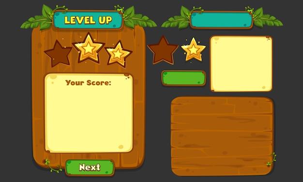Set von ui-elementen für 2d-spiele und apps, jungle game ui part 4 Premium Vektoren