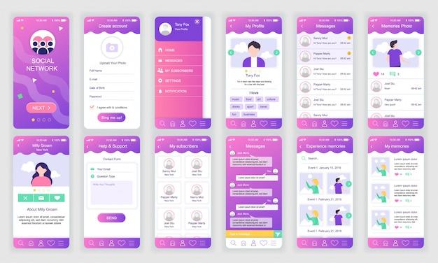 Set von ui, ux, gui-bildschirmen app für soziales netzwerk flach Premium Vektoren
