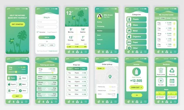 Set von ui, ux, gui-bildschirmen ökologie-app flach Premium Vektoren