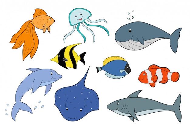 Set von unterwassertieren. niedliche cartoonfische, quallen, krake, haifisch, delphin. meerestiere. Premium Vektoren