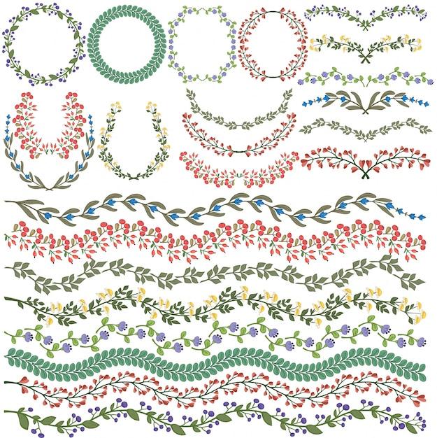 Set von vektor bunte blumenschmuck alle pinsel enthalten Kostenlosen Vektoren