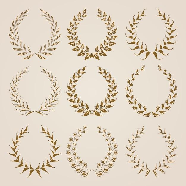 Set von vektor-gold-lorbeerkränzen. Premium Vektoren