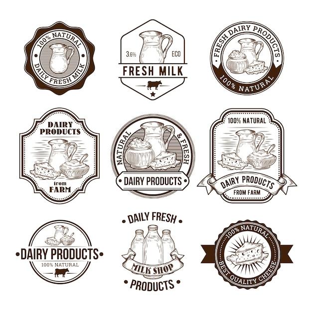 Set von vektor-illustrationen, abzeichen, aufkleber, etiketten, briefmarken für milch und milchprodukte Kostenlosen Vektoren