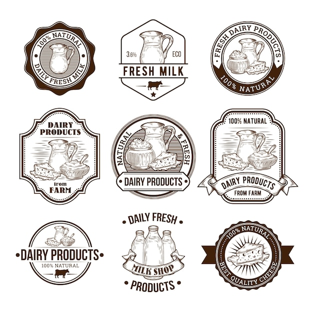 Set von Vektor-Illustrationen, Abzeichen, Aufkleber, Etiketten, Briefmarken für Milch und Milchprodukte Kostenlose Vektoren