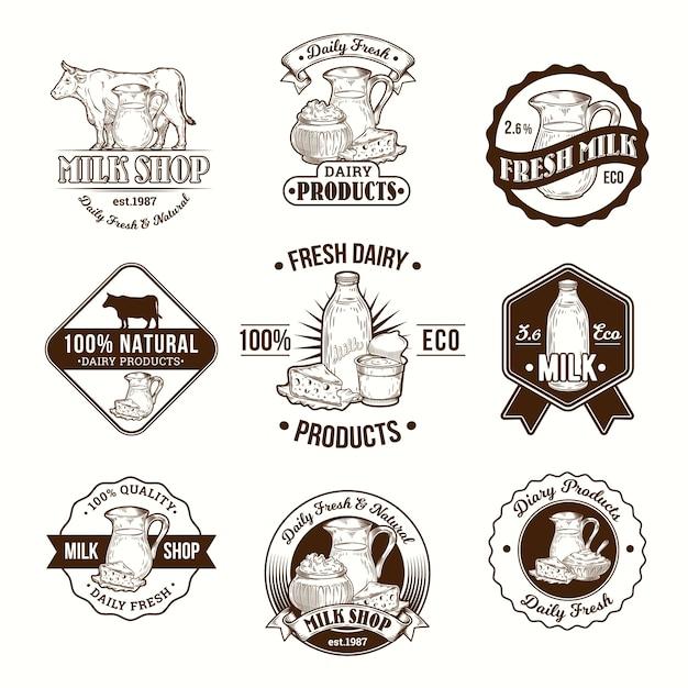 Set von vektor-illustrationen, abzeichen, aufkleber, etiketten, logo, briefmarken für milch und milchprodukte Kostenlosen Vektoren