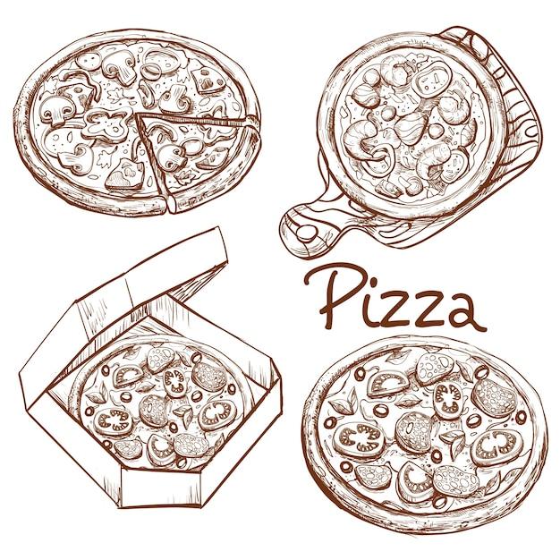 Set von vektor-illustrationen ganze pizza und scheibe, pizza auf einem holzbrett, pizza in einer box für die lieferung. Kostenlosen Vektoren