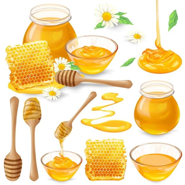 Set von vektor-illustrationen von honig in waben, in einem glas, tropft von honig schöpfkelle Kostenlosen Vektoren