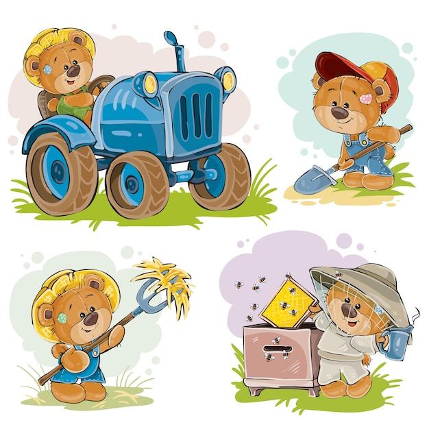 Set von vektor-illustrationen von teddybären traktor treiber, imker, bauer. Kostenlosen Vektoren