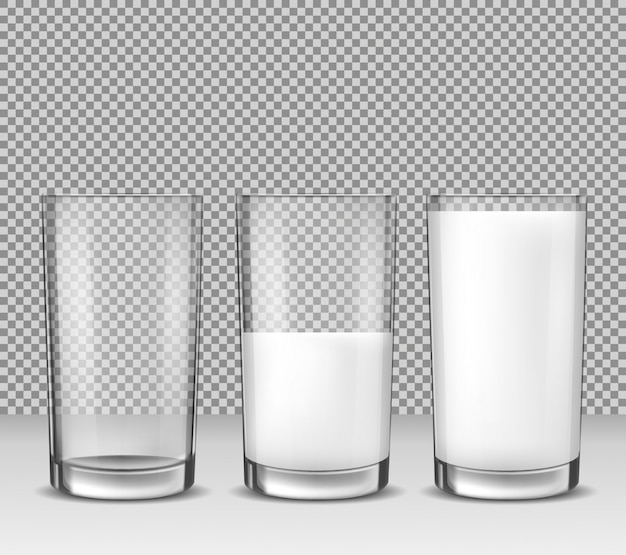 Set von vektor realistische illustrationen, isolierte symbole, glas gläser leer, halb voll und voller milch, milchprodukt Kostenlosen Vektoren