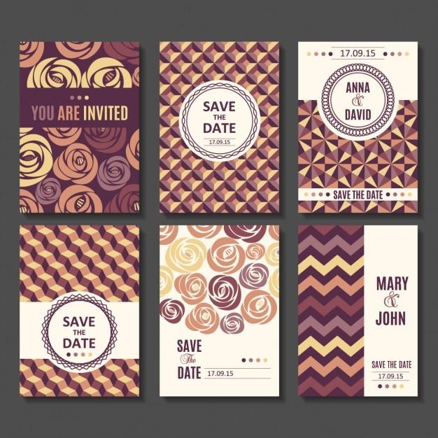 Set von Vektor-Vorlagen Einladung für das Baby Datum speichern ...