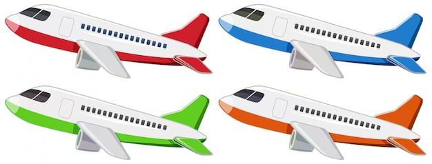 Set von verschiedenen flugzeugen Kostenlosen Vektoren