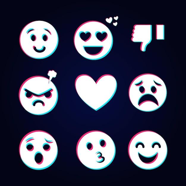 Set von verschiedenen glitch emojis Kostenlosen Vektoren