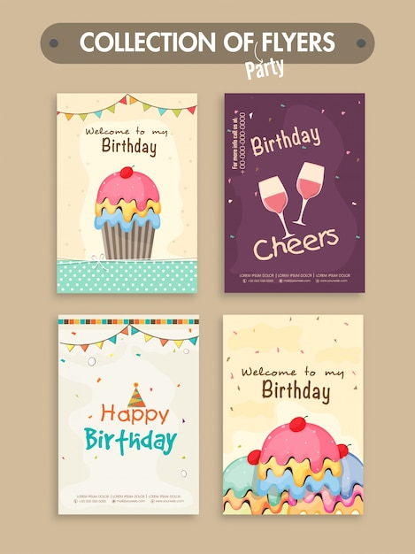 Set Von Vier Geburtstagsfeier Flyer Oder Einladungskarten Design Kostenlose  Vektoren