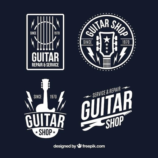 Set von vier gitarrenlogos in flachem design Kostenlosen Vektoren