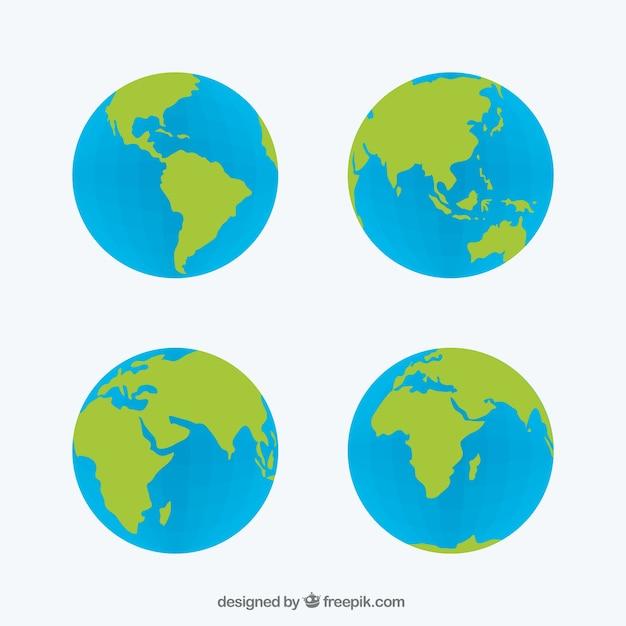 Set von vier globen Kostenlosen Vektoren
