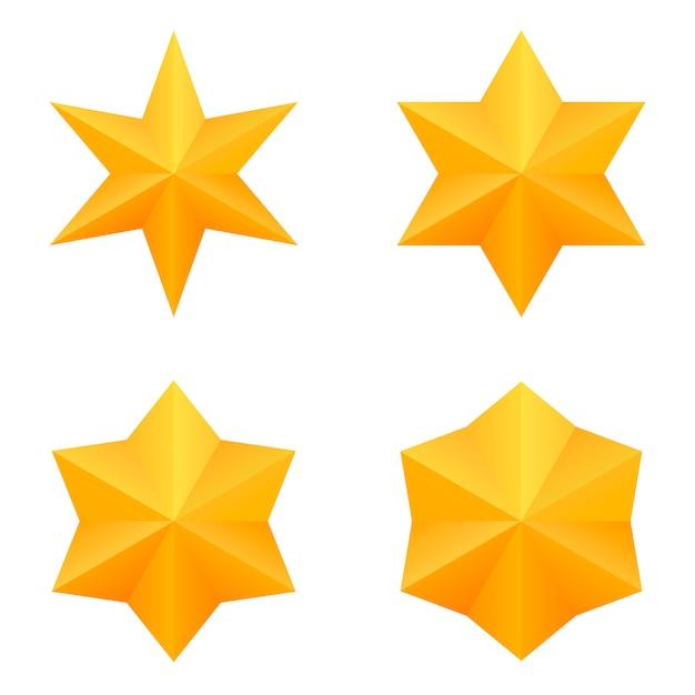 Set von vier goldenen sechs-punkte-sternen. Premium Vektoren