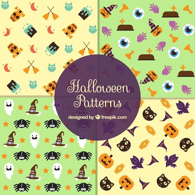 Set von vier mustern von halloween-elemente in flachen design Kostenlosen Vektoren
