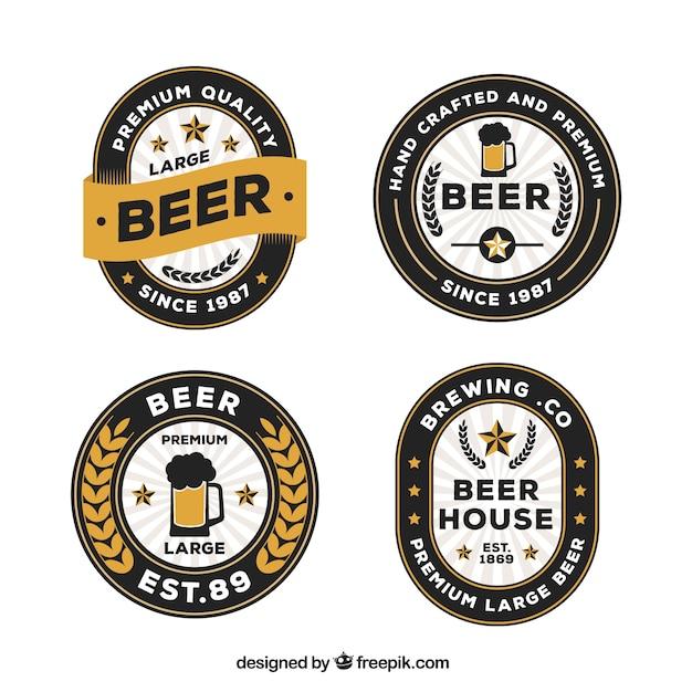 Set von vier premium-bier etiketten Premium Vektoren