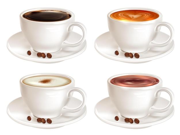Set von vier tassen kaffee verschiedener sorten, seitenansicht Premium Vektoren
