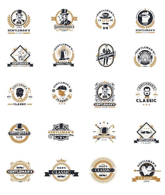 Set von vintage gentleman embleme, etiketten. Kostenlosen Vektoren