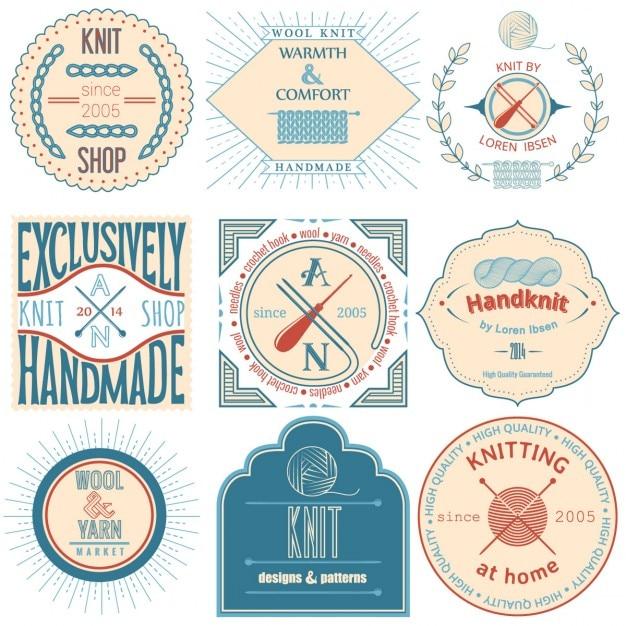 Set von vintage-strick abzeichen etiketten und design-elemente vektor-illustration Kostenlosen Vektoren