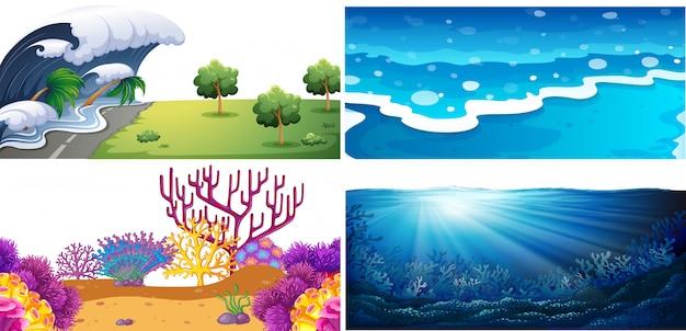 Set von wasserszenen Premium Vektoren