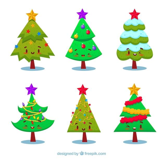 set von weihnachtsbaum zeichen download der kostenlosen