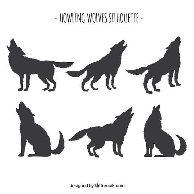Set Von Wolf Silhouetten Download Der Kostenlosen Vektor