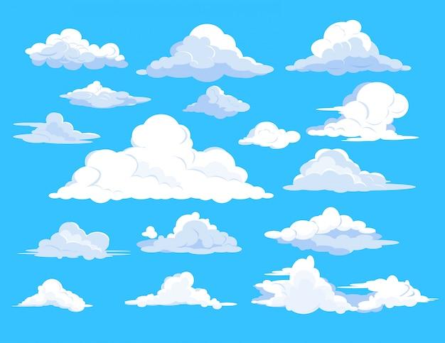 Set von wolken im himmel Kostenlosen Vektoren