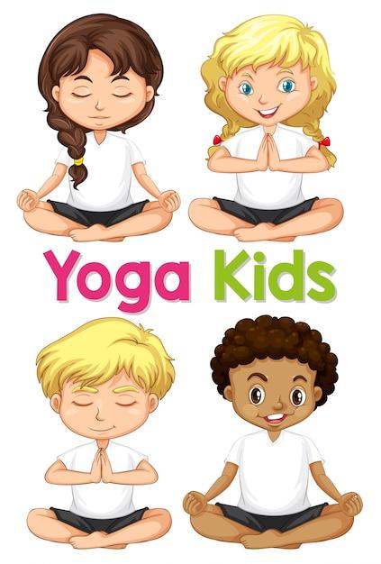 Set von yogakindern Premium Vektoren