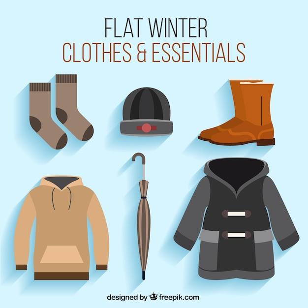 Set von zubehör und bekleidung für den winter Kostenlosen Vektoren