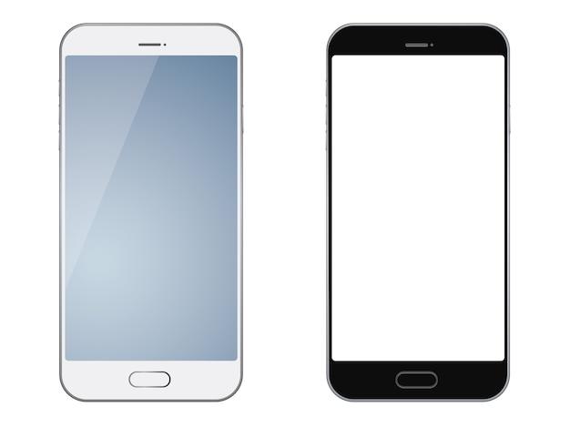 Set von zwei smartphones getrennt Premium Vektoren