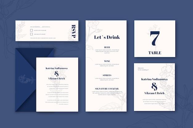 Set vorlage für hochzeitsbriefpapier Kostenlosen Vektoren