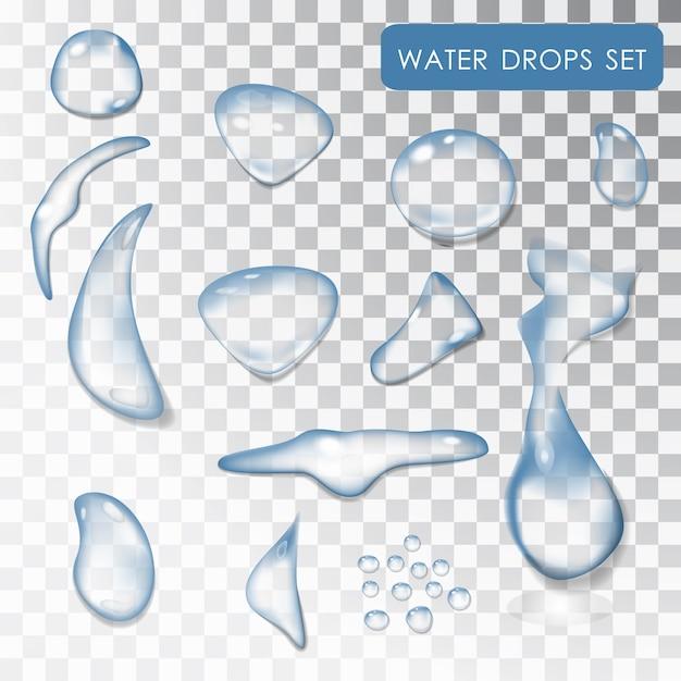 Set wassertropfen. transparente einzelne wassertropfen. wasser. tropfen wasser, die flüssigkeit. . reines wasser. nasse wirkung. isolierte objekte. Premium Vektoren