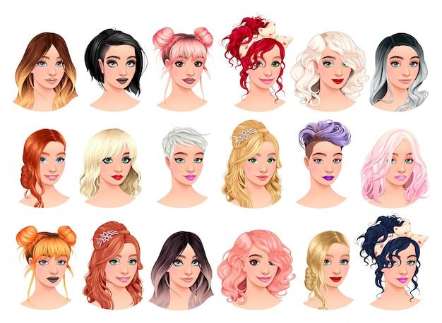 Set weibliche avatare Premium Vektoren