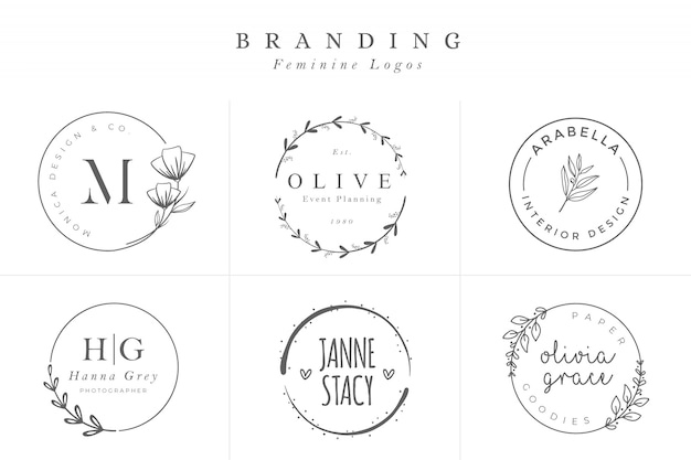 Set weibliche vektor-zeichen oder logo templates Premium Vektoren