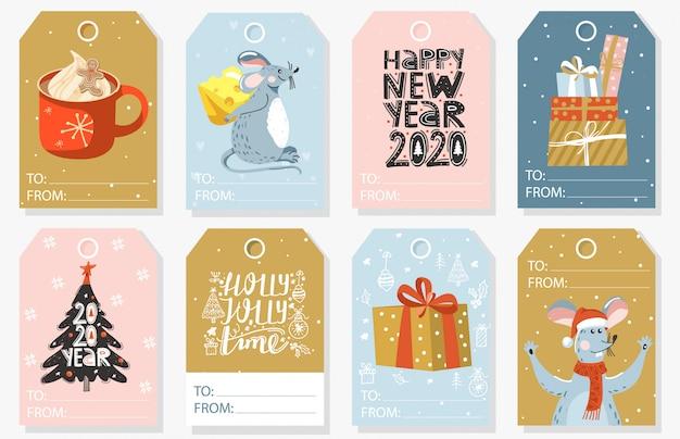 Set weihnachts- und neujahrsgeschenkmarken. Premium Vektoren