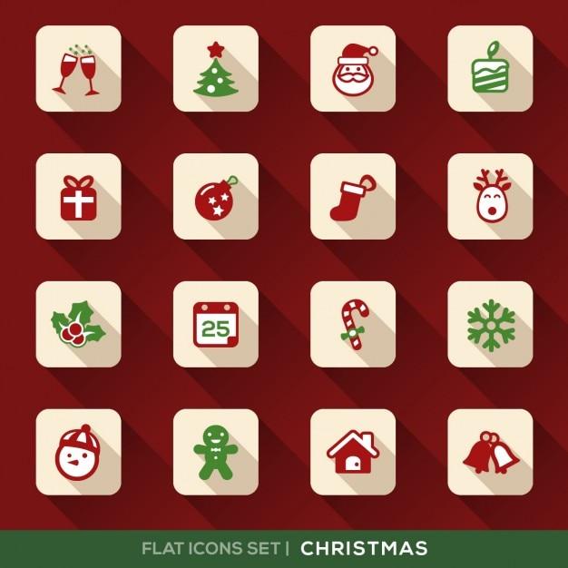 set weihnachts wohnung icons mit langen schatten. Black Bedroom Furniture Sets. Home Design Ideas