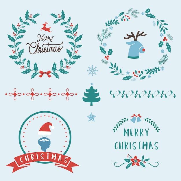 Set weihnachtsabzeichen Kostenlosen Vektoren