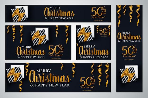 Set weihnachtsbroschürenvorlagen Premium Vektoren