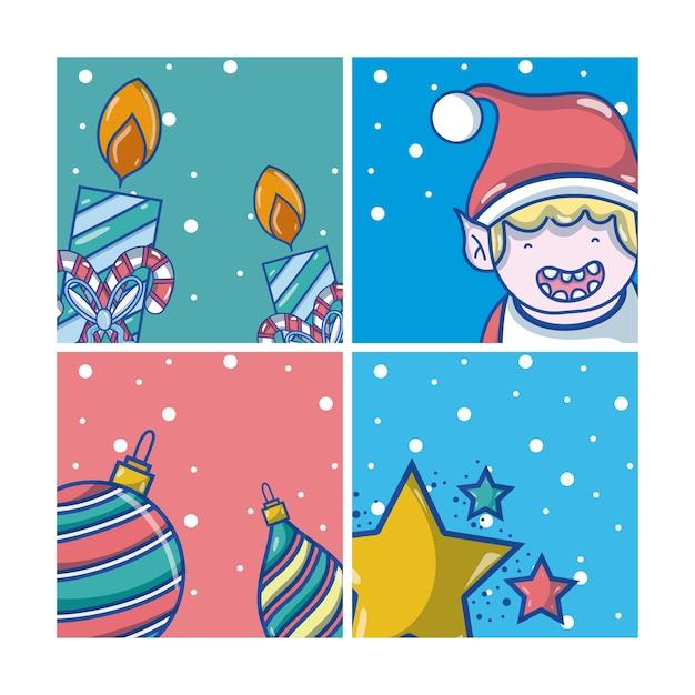 Set weihnachtskarikaturen Premium Vektoren