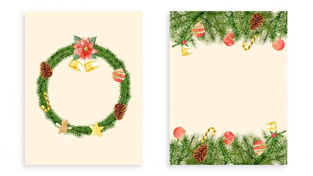 Set weihnachtskarten Premium Vektoren