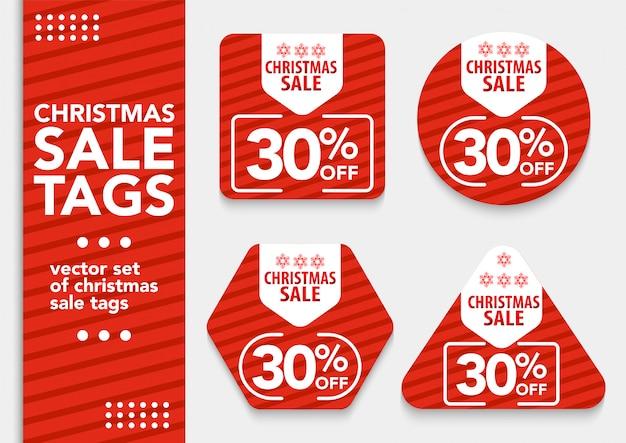 Set weihnachtsverkauf tags Premium Vektoren