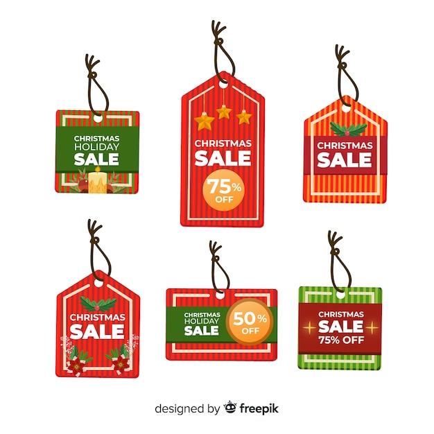 Set weihnachtsverkaufsmarken Kostenlosen Vektoren