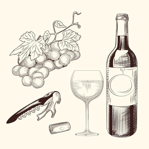 Set wein. hand gezeichnet vom weinglas, von der flasche, vom weinkorken, vom korkenzieher und von den trauben. Premium Vektoren